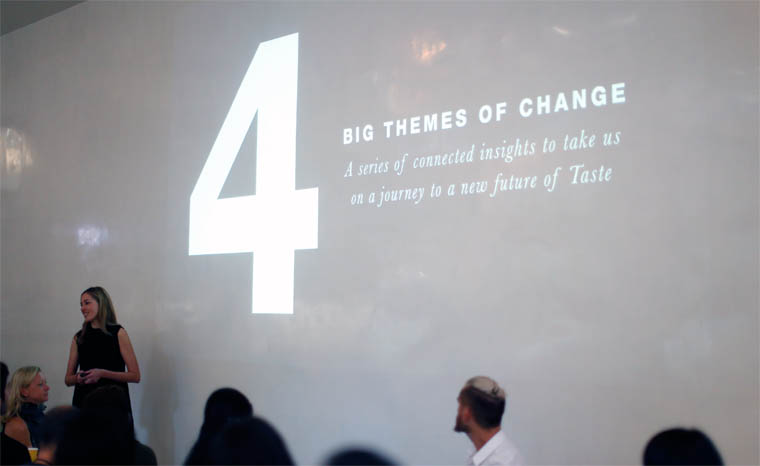 Pearlfisher Futures Director Sophie Maxwell outlined four major cultural, consumer and category shifts defining the future of food and drink at Taste Mode 2016.