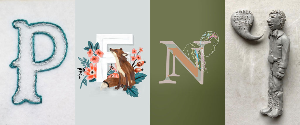 "Image with tiles that spell ""PFNY"" for Pearlfisher New York using designer's work from the 36 Days of Type challenge."